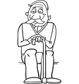 senior with cane coloring page vector image vector image