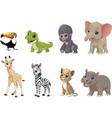 set funny kids animals vector image vector image