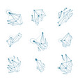 set of abstract 3d faceted figures with connected vector image vector image