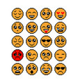 set of emoticons pixel emoji characters isolated vector image vector image