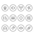 Set round line icons of human organs vector image
