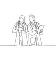 single continuous line drawing young couple vector image vector image