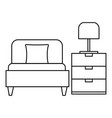 sleep bed room icon outline style vector image