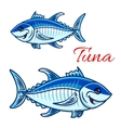 Smiling cartoon bluefin tunas for fishing design vector image