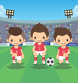 soccer players team with ball vector image vector image