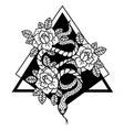 tattoo with rose and snake with sacred geometry vector image vector image