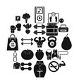 toned body icons set simple style vector image vector image