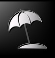 umbrella and sun lounger sign gray 3d vector image vector image