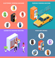 vending machines isometric design concept vector image vector image