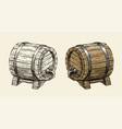 wooden barrel with faucet sketch hand drawn vector image vector image