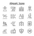 airport aviation icon set in thin line style vector image
