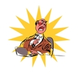 Angry boss business businessman laptop vector image
