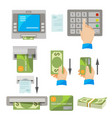 atm usage concept set with money and credit card vector image vector image