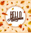 autumn round frame with falling leaves vector image vector image