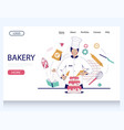 bakery website landing page design template vector image