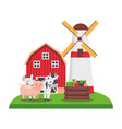 barn windmill animals vegetables farm vector image vector image