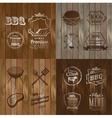 BBQ Beef menu restaurant symbol on Wooden striped vector image vector image