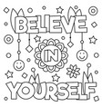 believe in yourself coloring page vector image vector image