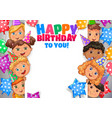 birthday design banner with faces cute kids vector image vector image