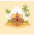 bungalow house icon summer sea vacation concept vector image vector image