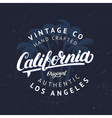 California hand written lettering with palms vector image