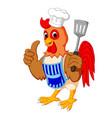 cartoon chicken chef vector image vector image