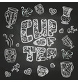 chalk drawings Decorative cup of coffee vector image vector image