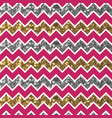cherry zigzag pattern with glittery gold and vector image