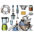 colander blender and juicer dirty dishes jam vector image