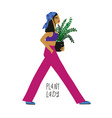 colorful cartoon plant lady vector image