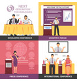 conference hall interior icon set vector image vector image