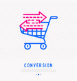 conversion line icon shopping cart with arrows vector image vector image