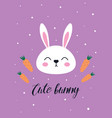 cute easter card with rabbit and carrots vector image vector image