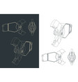 demolition shear blueprints vector image vector image