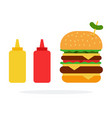 double burger with cheese and beef and dispenser vector image vector image