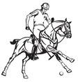 equestrian polo player riding a horse vector image vector image
