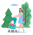 family leisure mom walking with ba vector image