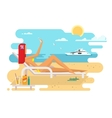 Girl on beach design flat vector image vector image