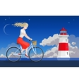 Girl on the bicycle and lighthouse vector image