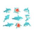 great white shark marine fish living in warm sea vector image vector image