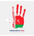 Handprint with the Flag of Belarus in grunge style vector image vector image