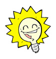 happy light bulb comic cartoon vector image