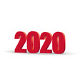 happy new year 2020 celebration 3d text red 2020 vector image vector image