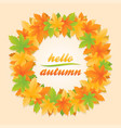 Hello autumn leaves circle banner