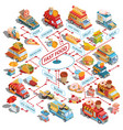 isometric cars fast delivery of food and vector image