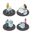 isometric printing house icons concept vector image