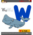 letter w with cartoon whale animal vector image vector image