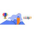 literacy day card pencil book mountain landscape vector image