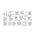 mobile app development outline horizontal vector image