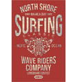 north shore hawaii classic surfing company vector image vector image
